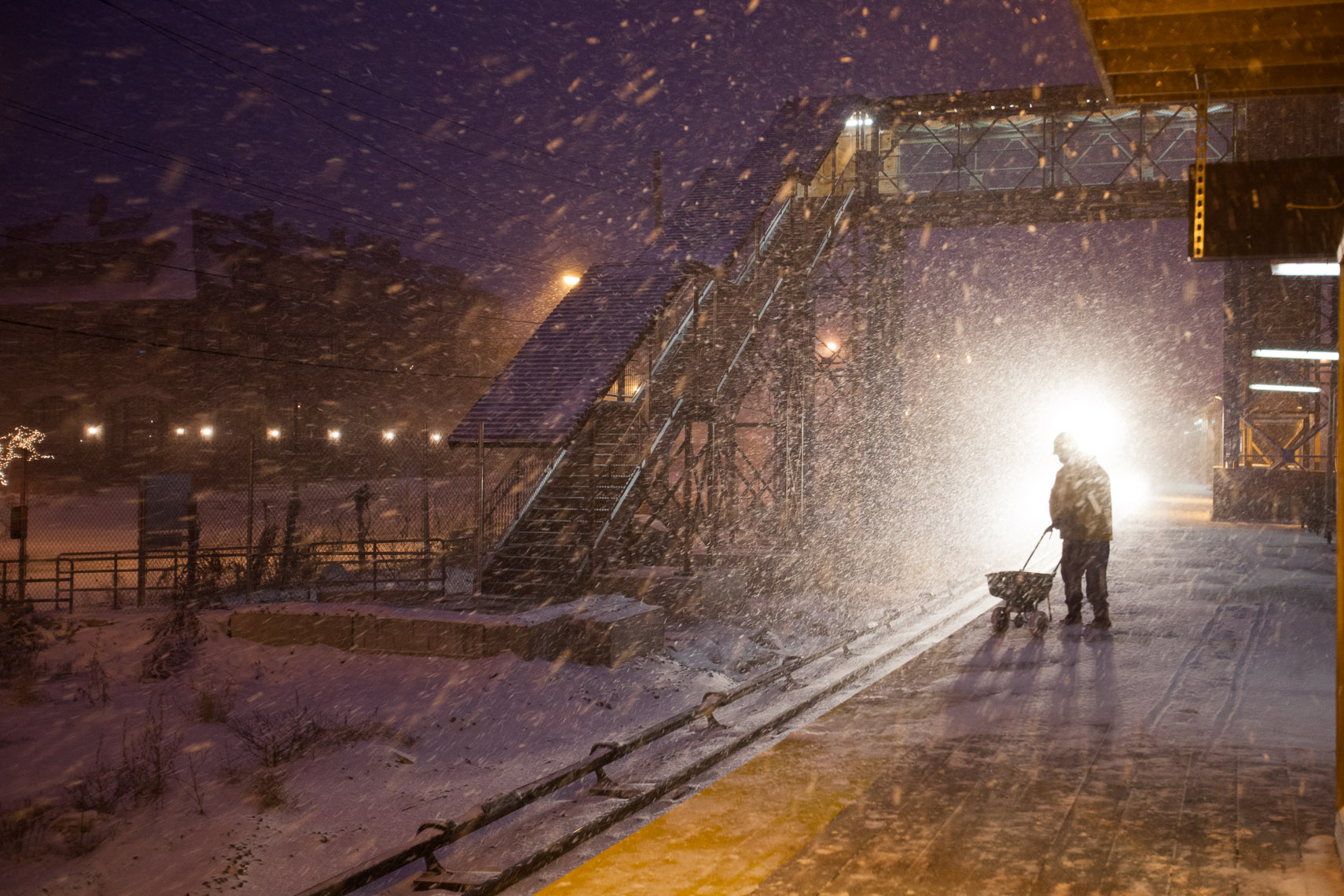 Train Station, Snow Storm